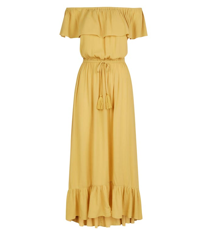 A yellow bardot midi dress - just perfect for the summer. Image by Newlook.