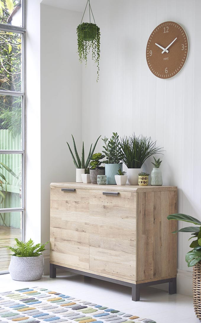 A stylish minimal nook with a wooden sideboard and lots of plants atop. The sideboard is near a door window and so there's plenty of natural light, making everything look so fresh and light. Image by Next.