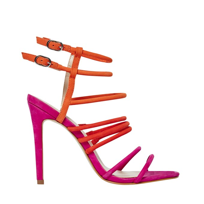 A dark pink high heel sandal with orange straps. Image by Office.