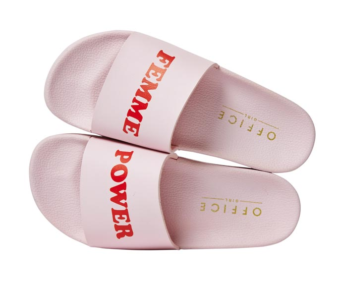 Pink flat sliders with a Femme Power slogan on them. Image by Office.