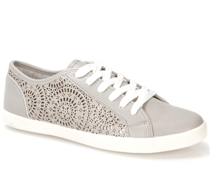 A grey leather trainer with side etchings. Image by Pavers.