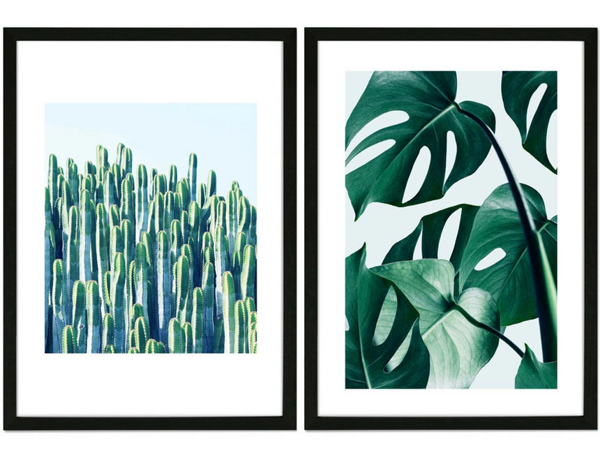 Two art images of tropical folliage in a black contemporary frame. Both images by Amara.