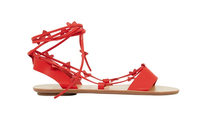 A pair of Loeffler Randall heart wrap sandals in coral red. Image by Very Exclusive.