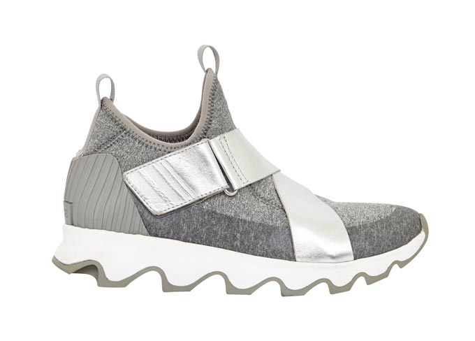 A grey trainer with hints of metallic silver. Image by Very Exclusive.