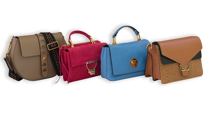 Four of the most popular Coccinelle bags (left to right): Carousel, mini Arlettis, Liya, Ambrine.