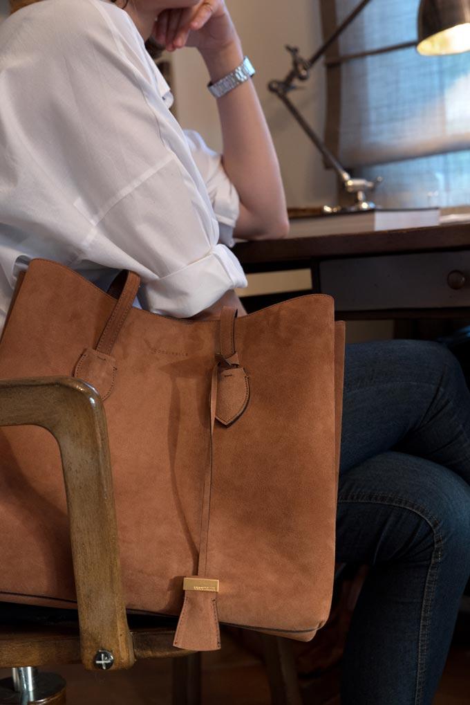 The Celene suede Tote bag besides Velvet. Image by Antonis Drakakis.