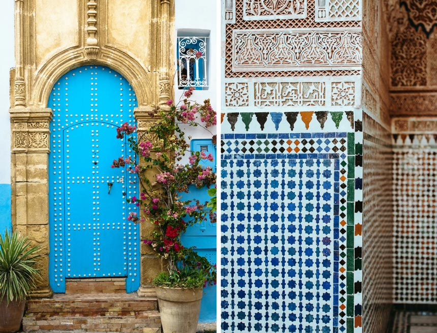Left image of a blue arched door in Morocco. Right image of a wall ornamented with intricate patterns in Morocco.