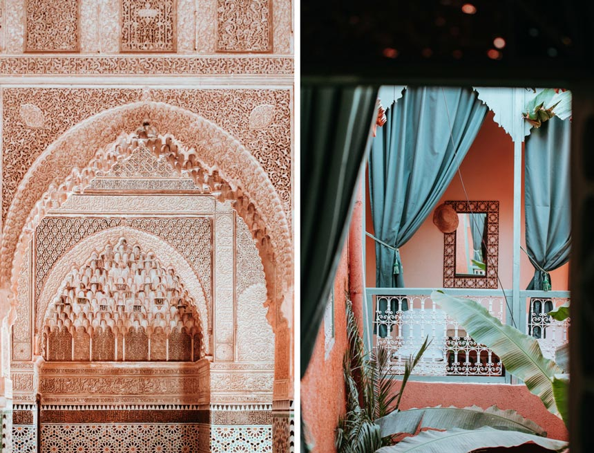 Left image of intricate patterns used to decorate this Moroccan arched entryway in soft blush pink hues. Right image of a terracotta hue balcony with drawn blue curtains and an off-white decorative railing.