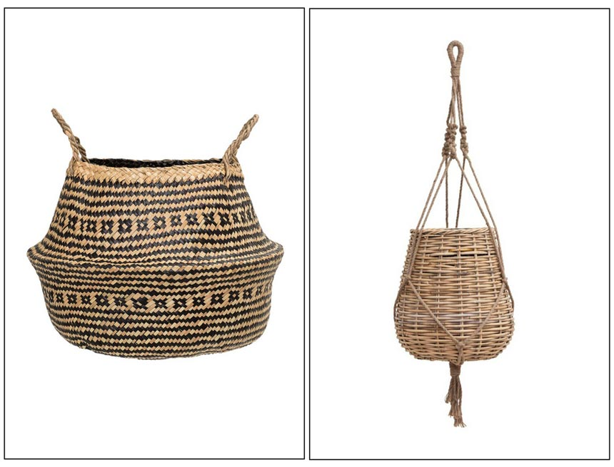 A seagrass basket on the left and a hanging basket on the right. Both ideal for plant pots. Images by Amara.