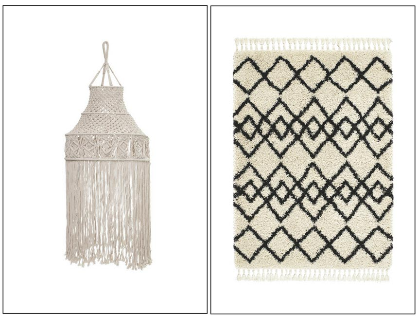 A hanging macrame on the left and a Moroccan diamond patterned rug on the right. Both images by Amara.