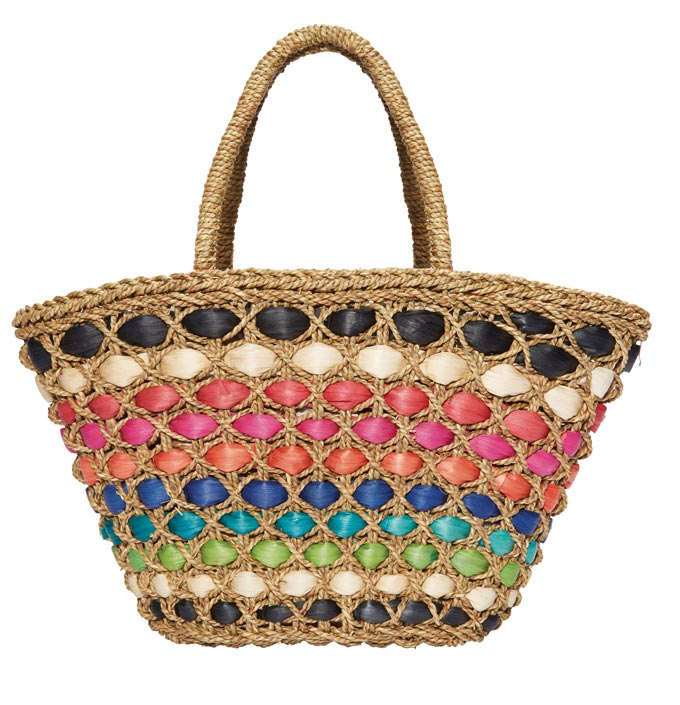 A rainbow stripe straw beach bag. Image by House of Fraser.