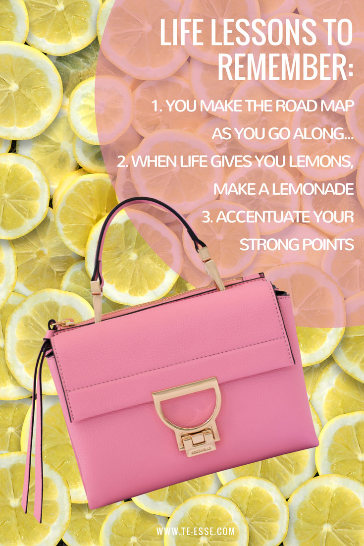 The Arlettis mini, pink bag with a lot of lemon slices in the background. Atop it reads: life lessons to remember: 1. you make the road map as you go along, 2. when life gives you lemons then make a lemonade and 3. accentuate your strong points. Images by Antonis Drakakis. Concept by Velvet.