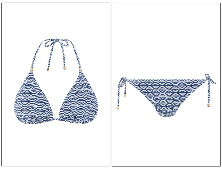 A blue stripe triangle bikini. Images by Monsoon.