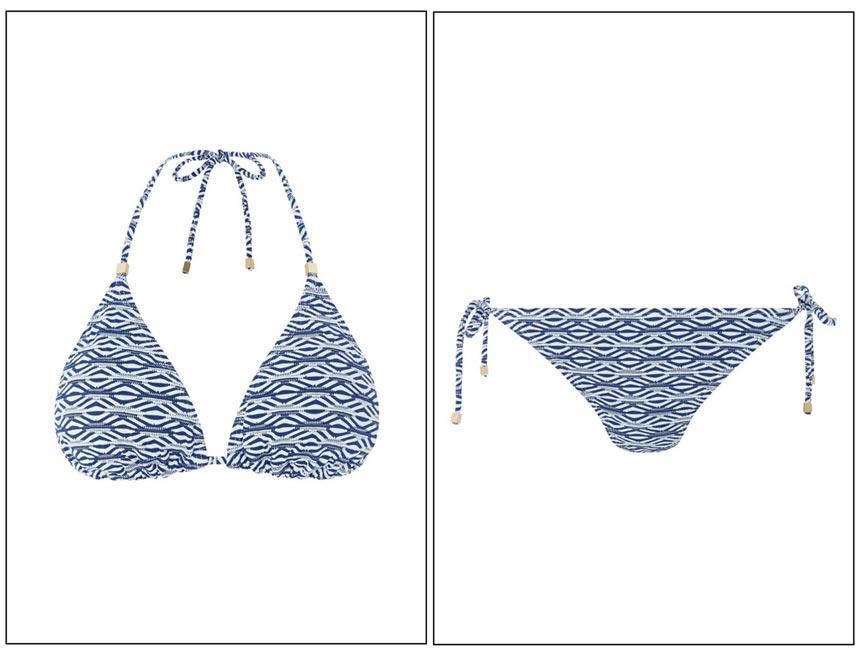 A blue stripe triangle bikini. Images by Monsoon.