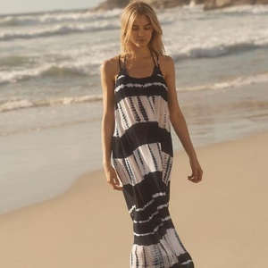What a gorgeous navy blue and white maxi dress, as worn by a blonde model while walking along the beach. Image by Monsoon/Accessorize.