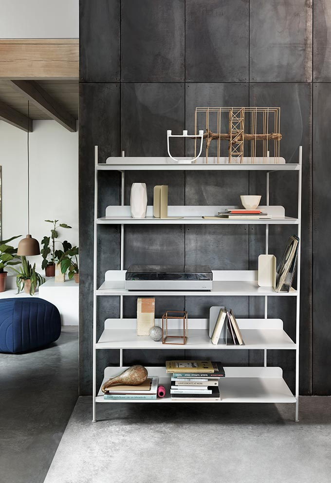 Compile is Cecilie Manz's contemporary take on the classic modular shelving system for Danish brand Muuto. Image by Nest.co.uk (via).