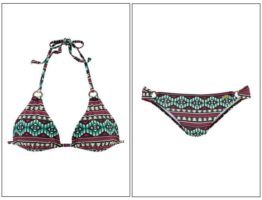 A triangle bikini with an Aztec geometric print. Images by Swimwear365.