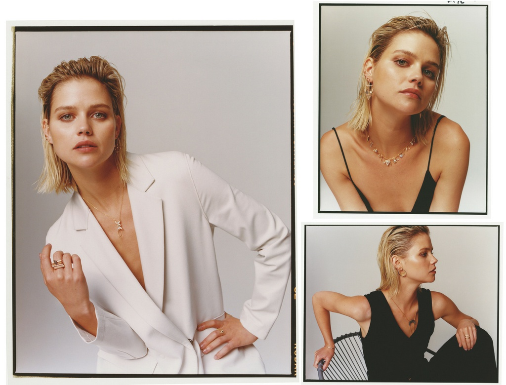 Three photo shots. A stylish model dressed in either white or black, showing off her gold jewelry. All images by Accessorize.