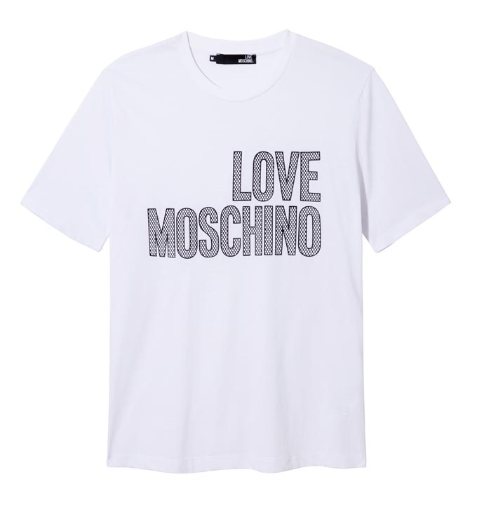 A white T-shirt that reads Love Moschino. Image by House of Fraser.