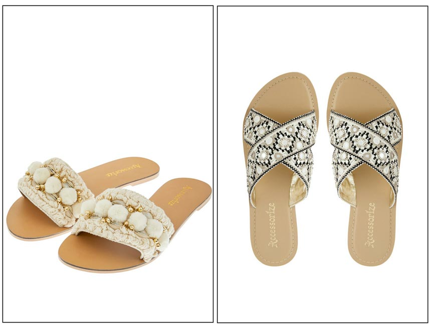 Two pairs of slider sandals. Images by Accessorize.