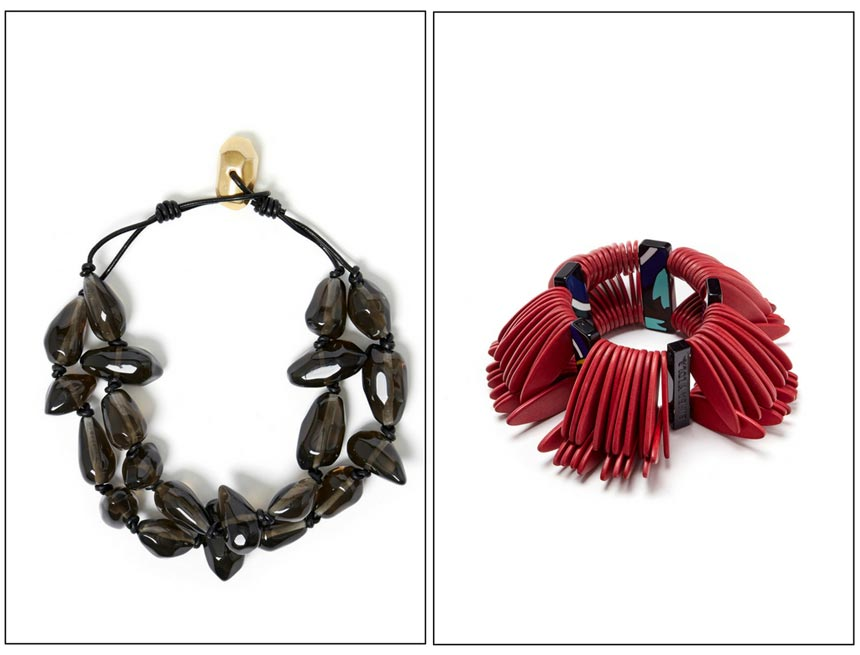 A black necklace on the left and a red bracelet on the right. Both images by Bimba Y Lola.