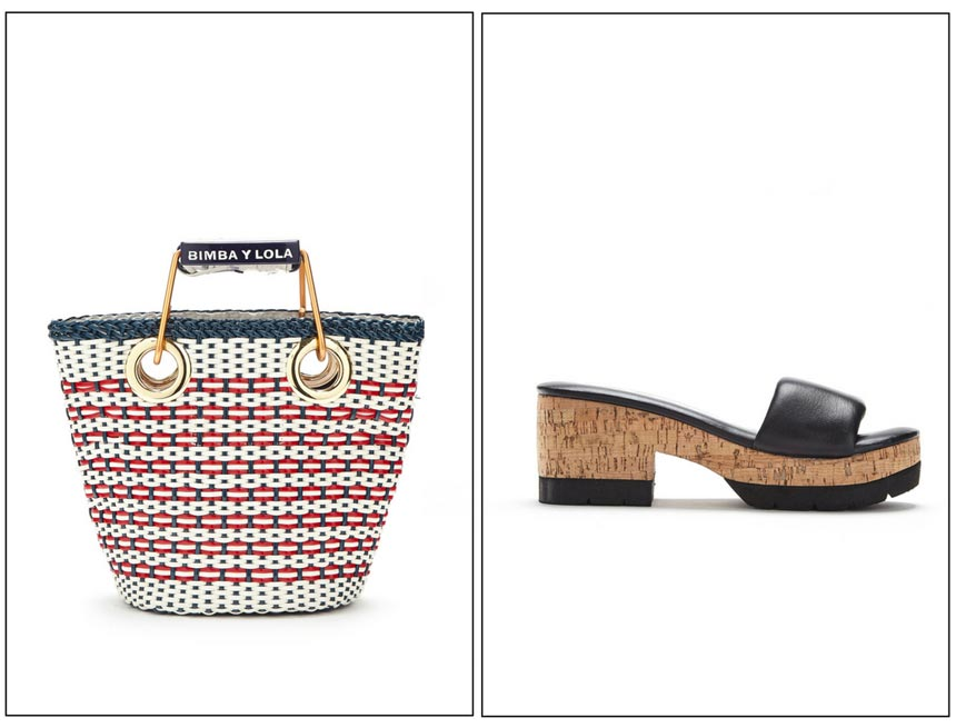 A white straw bag on the left with red stripes and a block heel sandal on the right. Both images by Bimba Y Lola.