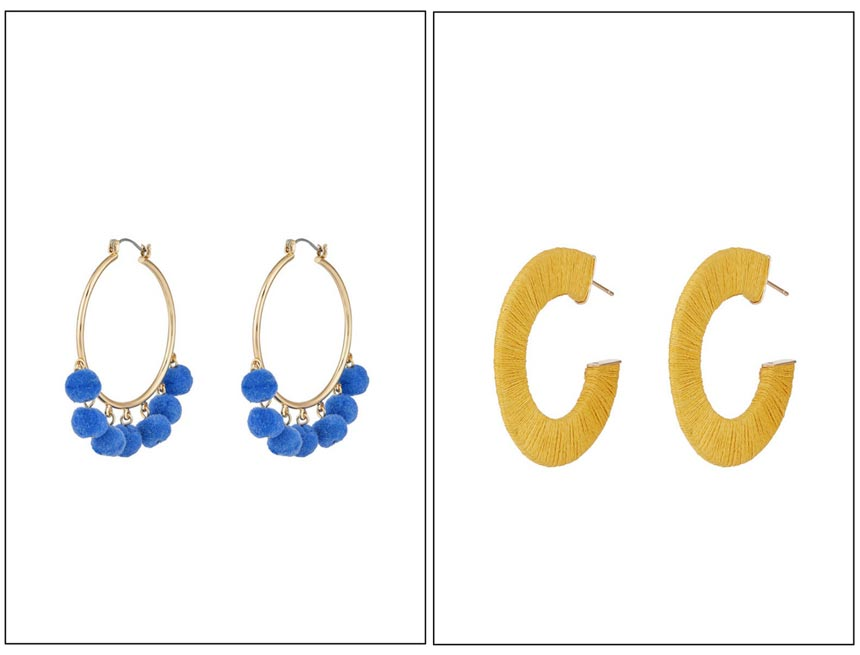 On the left hoops with blue pom poms. On the right yellow string hoops. Both images by Accessorize.