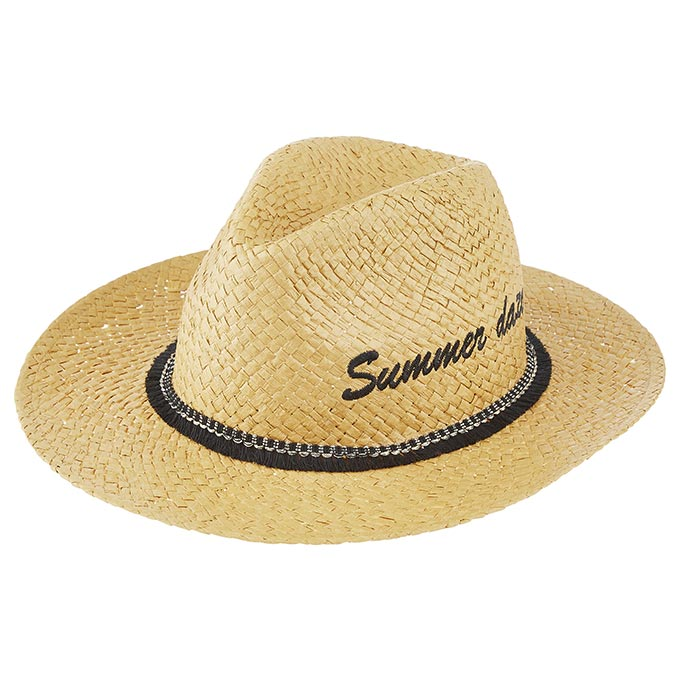 A straw hat with a black band and Summer haze written on it. Image by Accessorize.