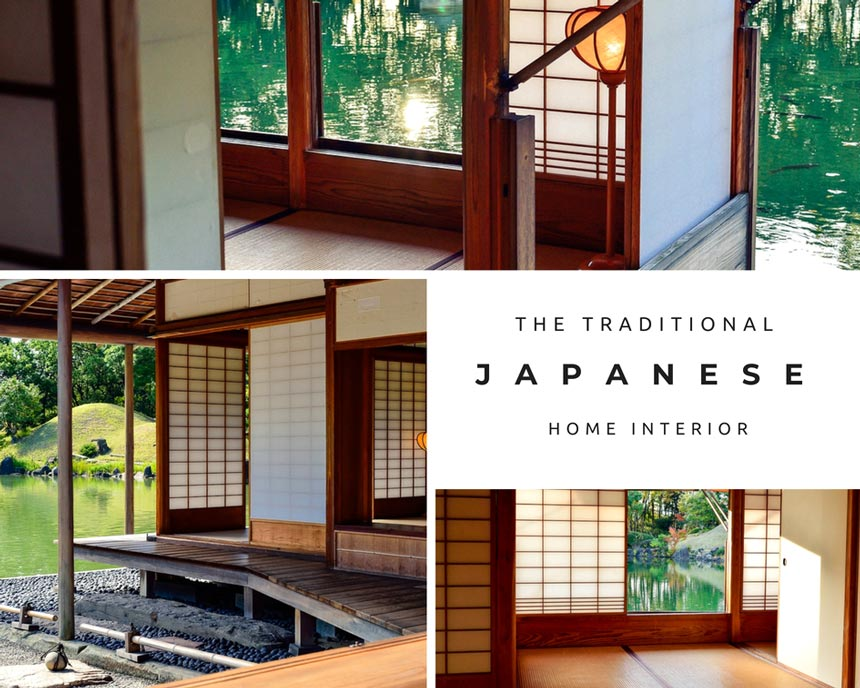 Three images in a collage of a traditional Japanese home interior with a fantastic lake view.