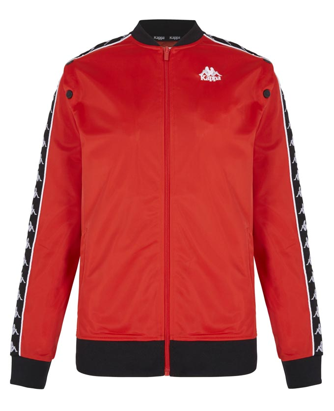 A red Kappa sweat jacket. Image by Littlewoods.