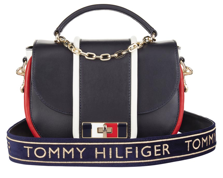 A Tommy Hilfiger cross body bag with a shoulder strap that emphasized the logo. Image by Littlewoods.