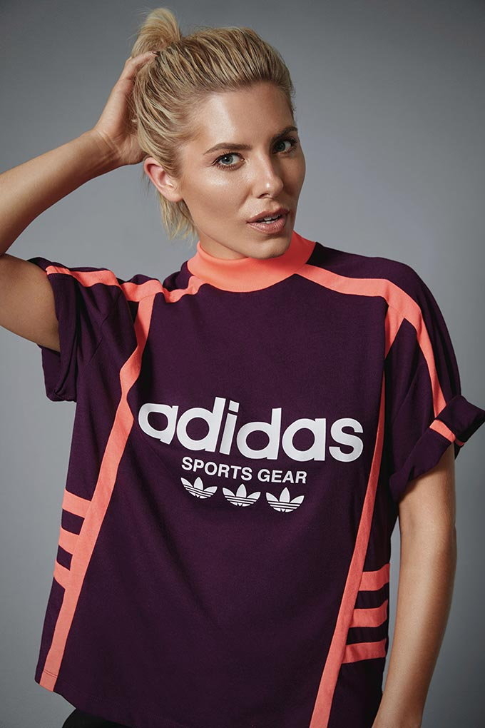 Molly King wearing a black Adidas T-shirt. Image by Littlewoods Ireland.