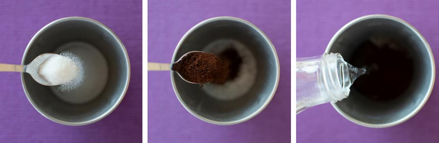 Adding a spoon of sugar, instant coffee and water in a beaker to make frappe coffee. Images by Antonis Drakakis.