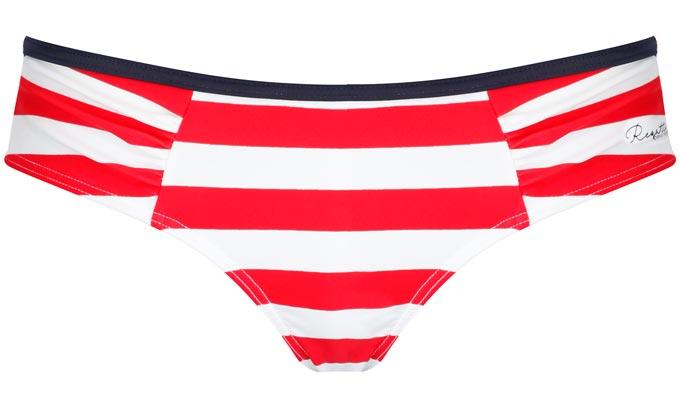 A red and white stripe bikini bottom. Image by Regatta.