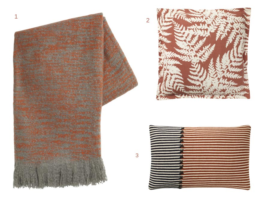 A throw and two pillows with rusty hues will surely add warmth and texture in any space. Images by House of Fraser.