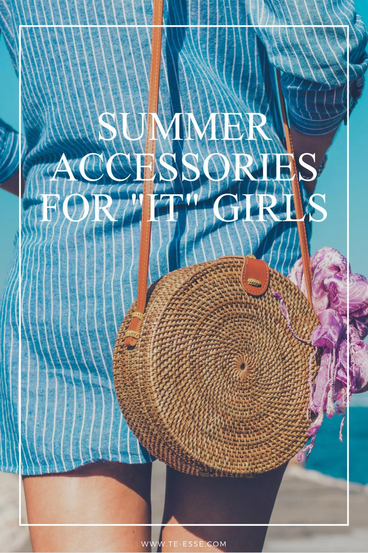 "Summer Accessories for ""It"" Girls reads this Pinterest graphic with the image of a woman's rear dressed in a blue shirt dress and a round straw bag."