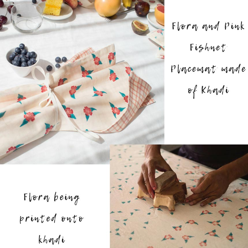 A simple but stylish table setting for breakfast with patterned organic textiles is surely a delightful way to start your day. Second smaller image shows the block printing of a flora pattern on khadi. Both images by All The Fruits.