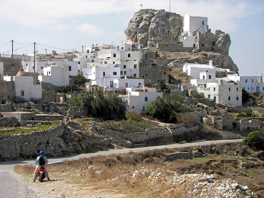View of the town, Chora, of Amorgos island in Greece.