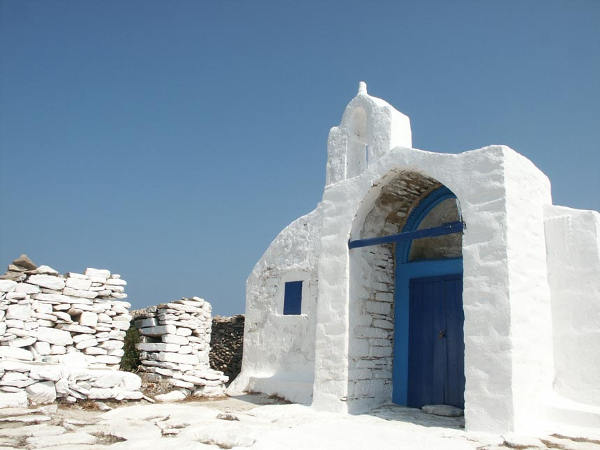 A white washed little, old chapel on the island of Amorgos.