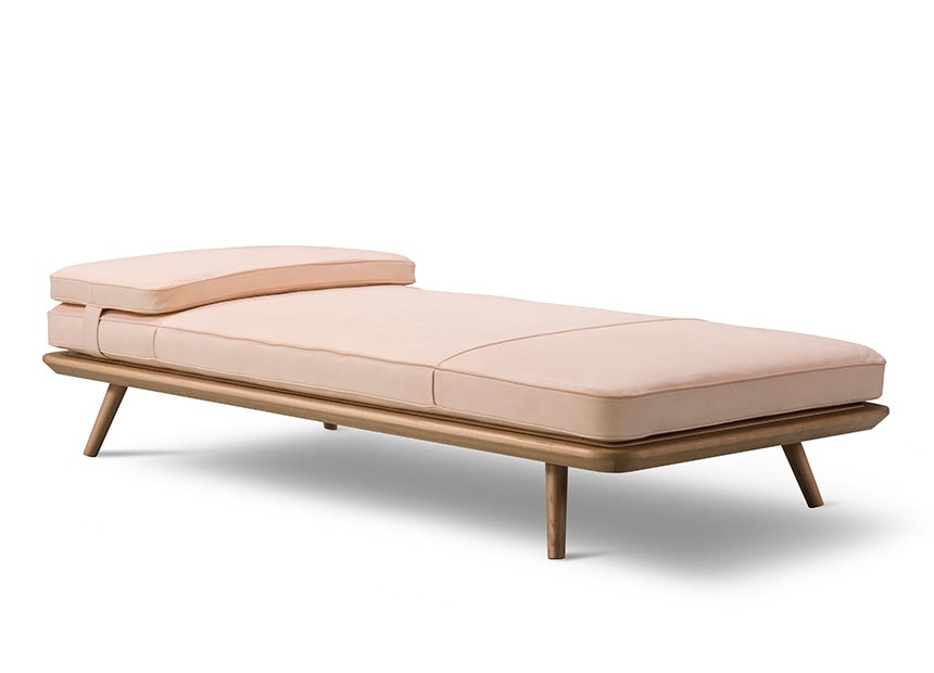 A day bed featuring super-soft hand-sewn leather upholstery and a solid oak frame which is crafted at Fredericia's renowned workshop in Denmark.​ Image by Nest.co.uk.