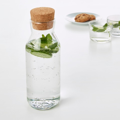 IKEA's 365 glass carafe with cork stopper and some cucumber water inside. Image by IKEA.
