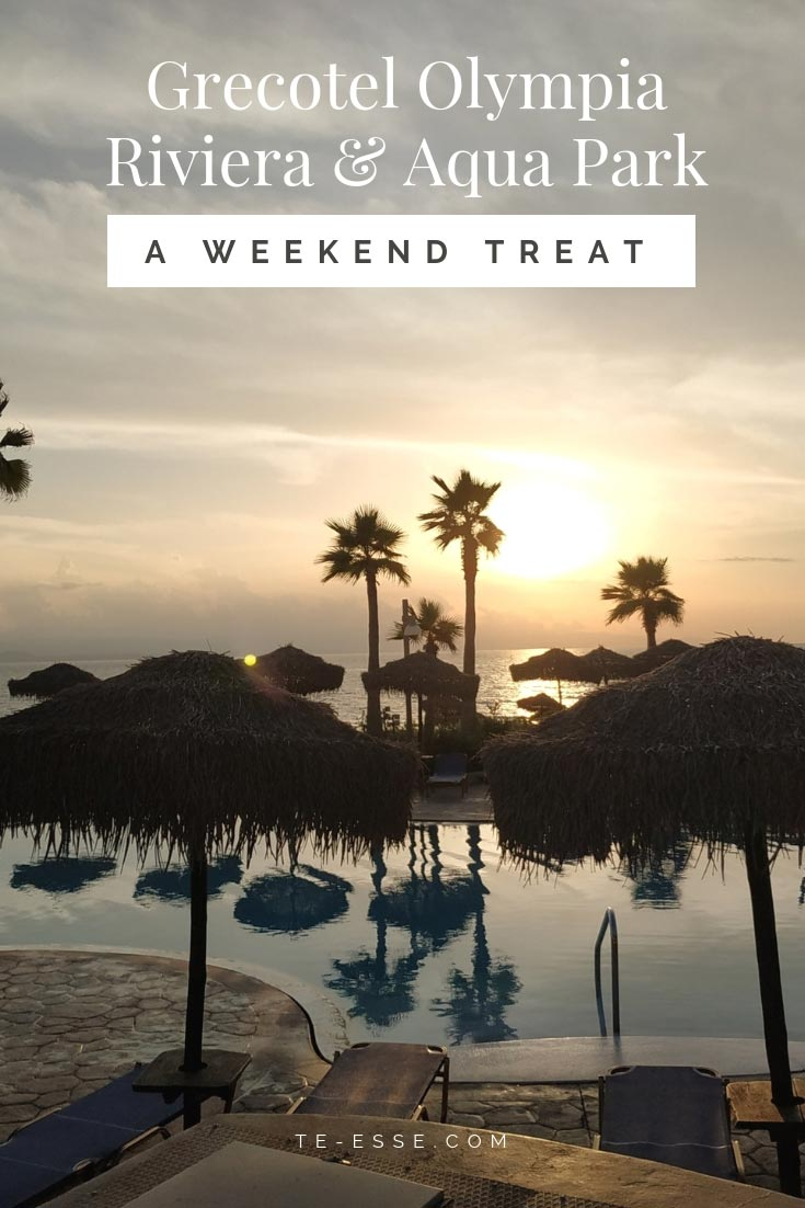 A pinterest graphic that reads Grecotel Olympia Riviera Resort and Spa, A Weekend Treat.