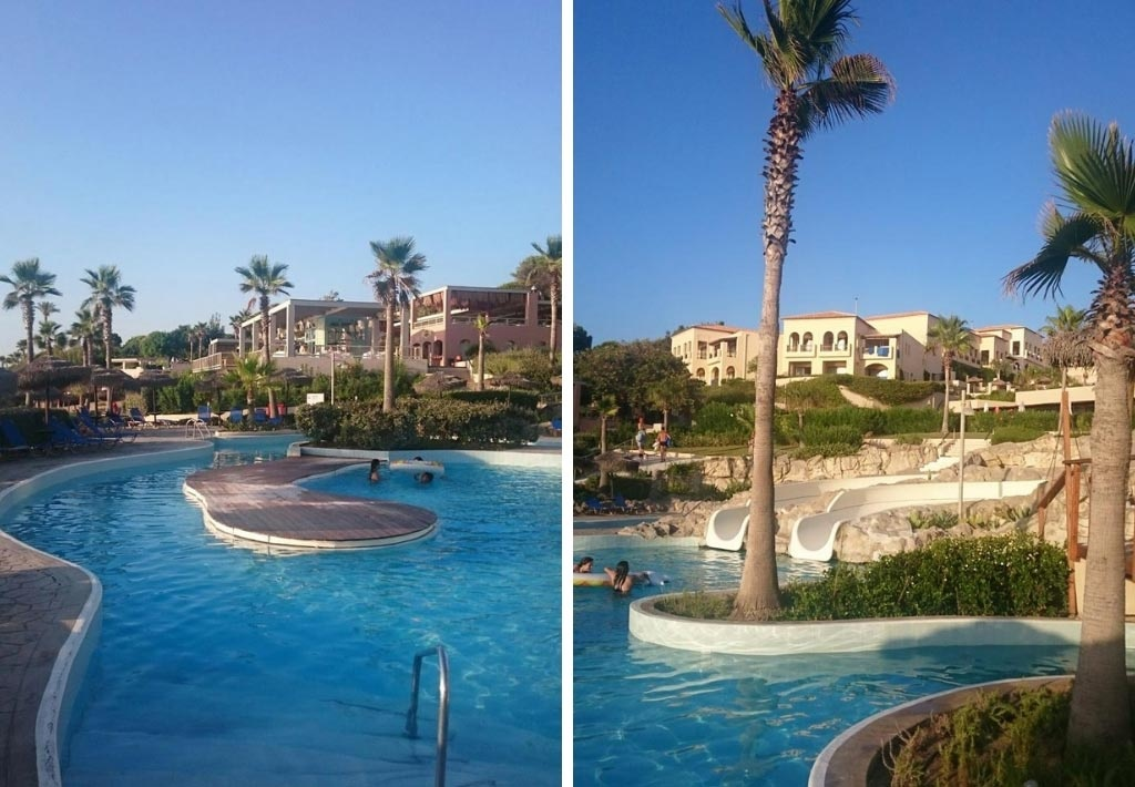 Two views of one of the outdoor pools with an exotic theme.