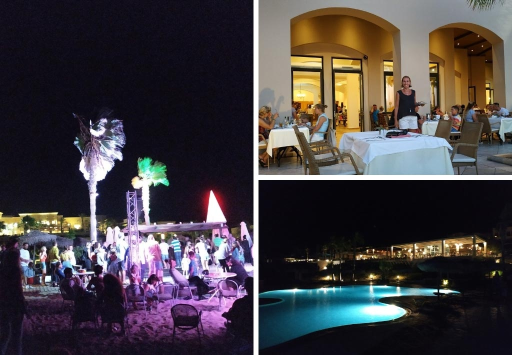 Three different views of the hotel at night. On the left a beach part. On the top right, Velvet stepping out into the veranda for dinner. Bottom right is a view of the pool at night with its lights on.