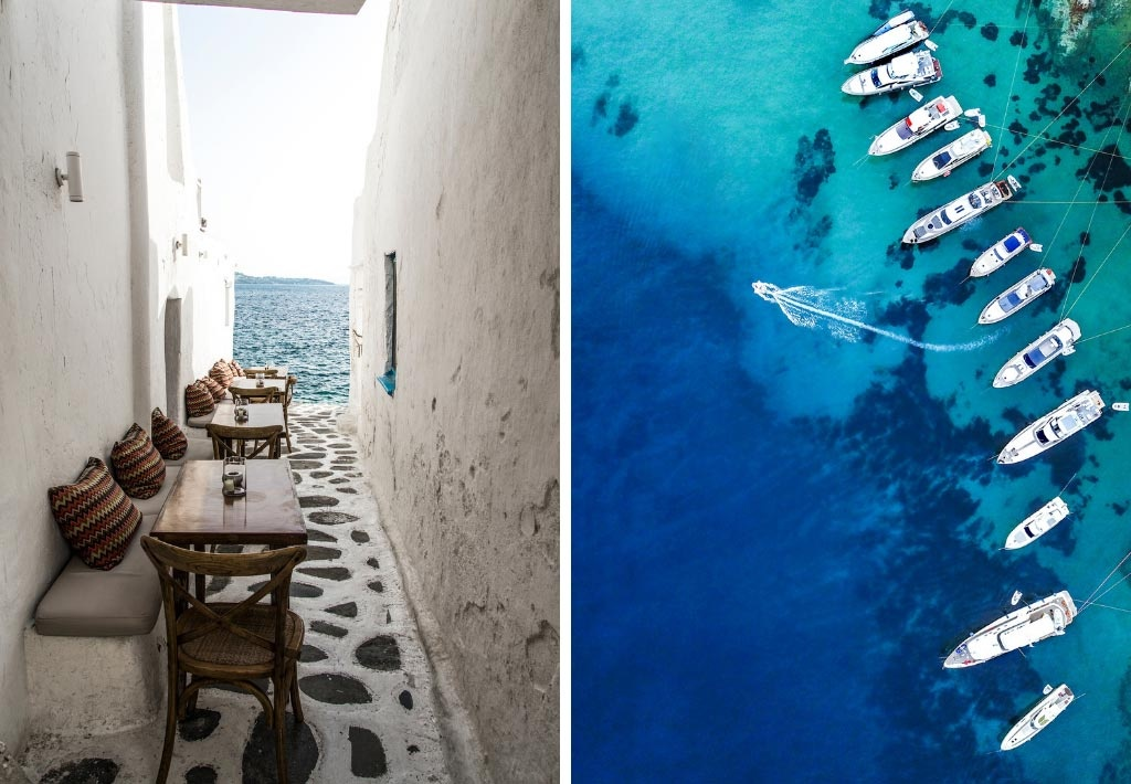 Two images side by side of Mykonos as captured by Marina Vernicos. The left one is an alley with a sea view. The right one is a bird eye's view of docked yachts.