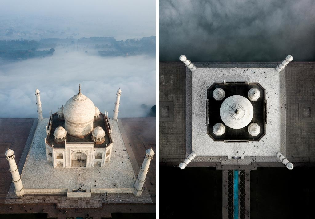 Two images of Taj Mahal captured by Marina Vernicos - bird's eye view.