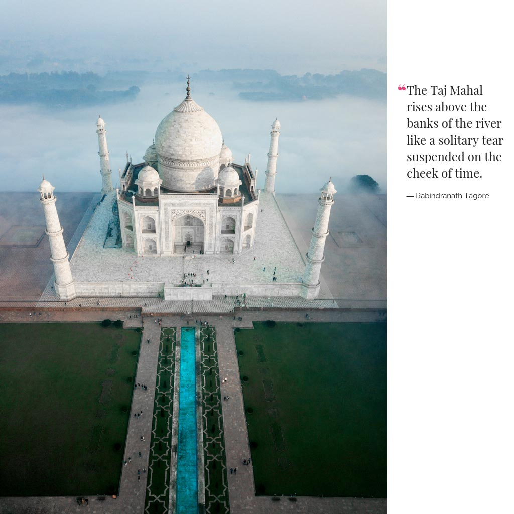 Bird's eye view image captured by Marina Vernicos of the Taj Mahal in India.