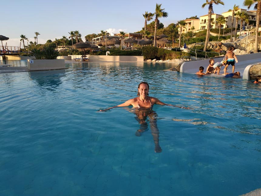 Velvet in the exotic theme hotel pool.