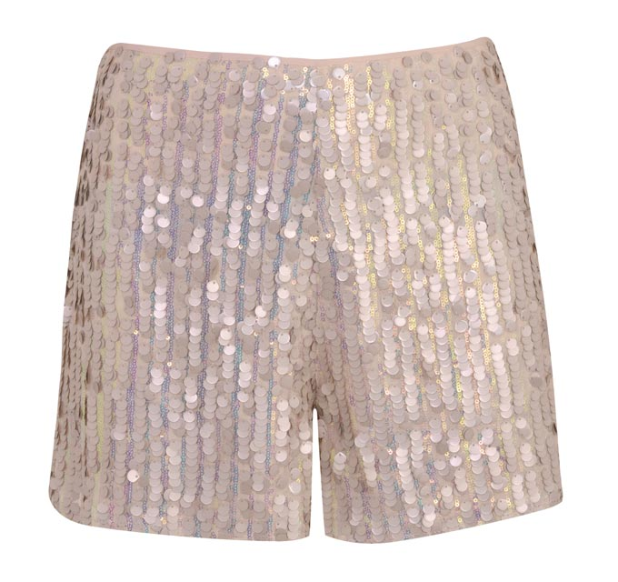 A pair of shorts embellished in pink sequins. Image by Miss Selfridge.