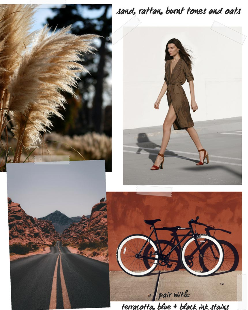 A collage of images as part of a larger moodboard for brown hues.